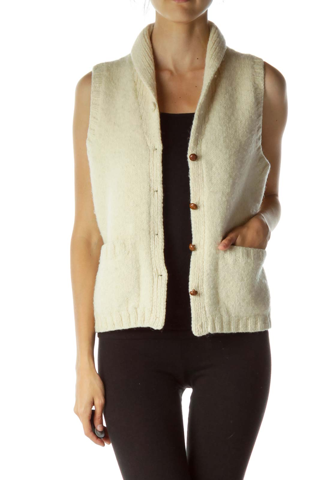 Cream Wool Buttoned Vest