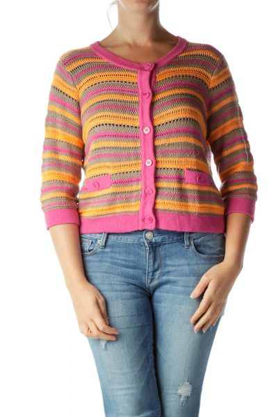 Pink Orange Cable Knit Cardigan