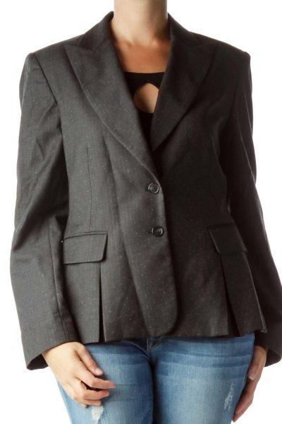 Gray Wool Textured Blazer