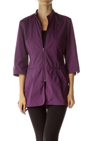Purple Long Pocketed Sport Jacket
