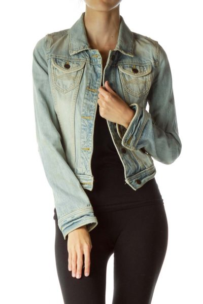 Blue Beige Distressed Denim Jacket