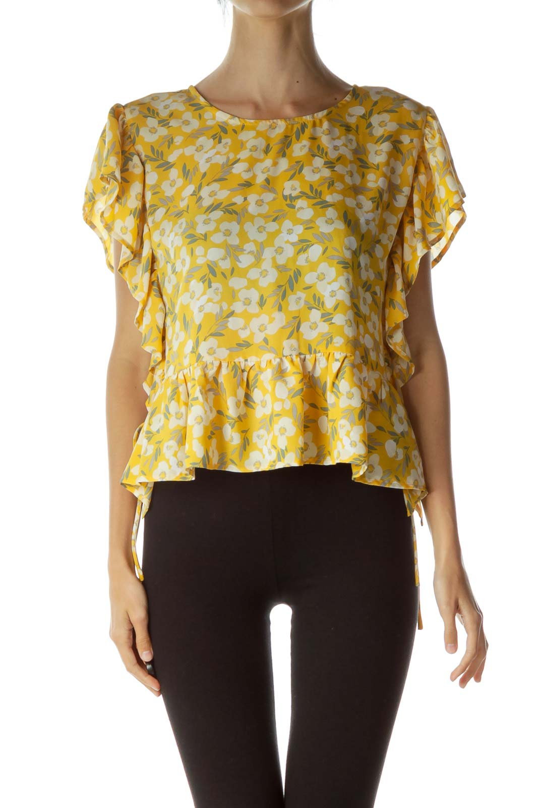 Yellow White Floral Print Blouse