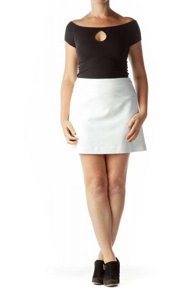 Cream A-Line Mini Skirt