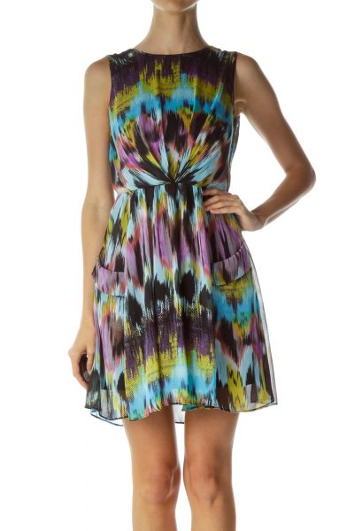 Multicolor Print Pocketed Flared Dress