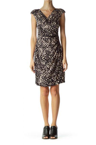 Black Beige Printed Work Dress