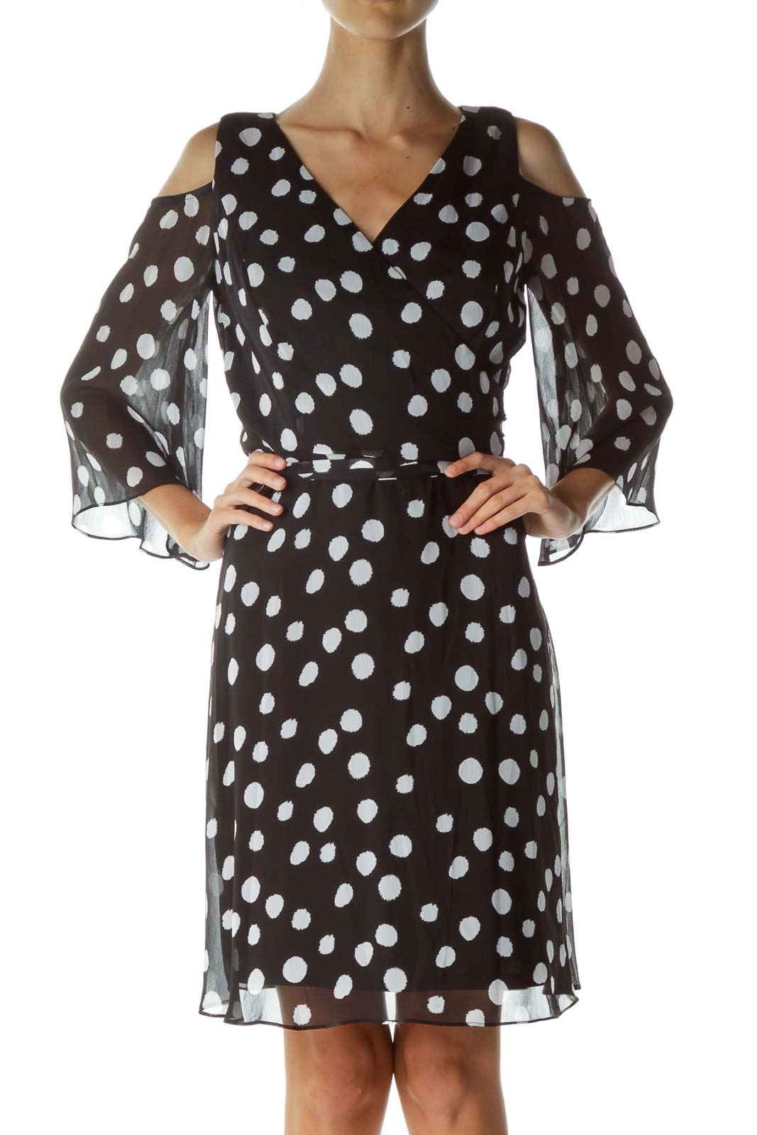 Black White Polka Dot Cold Shoulder Dress