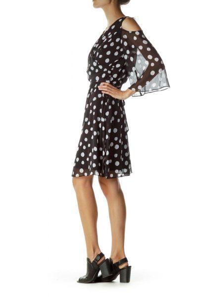 Black White Polka Dot Cold Shoulder Dress