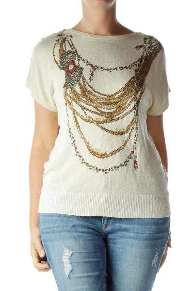 Beige Metallic Print Knit Top