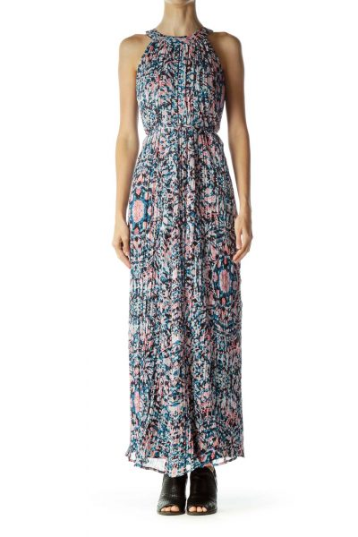Pink Blue Printed Maxi Dress
