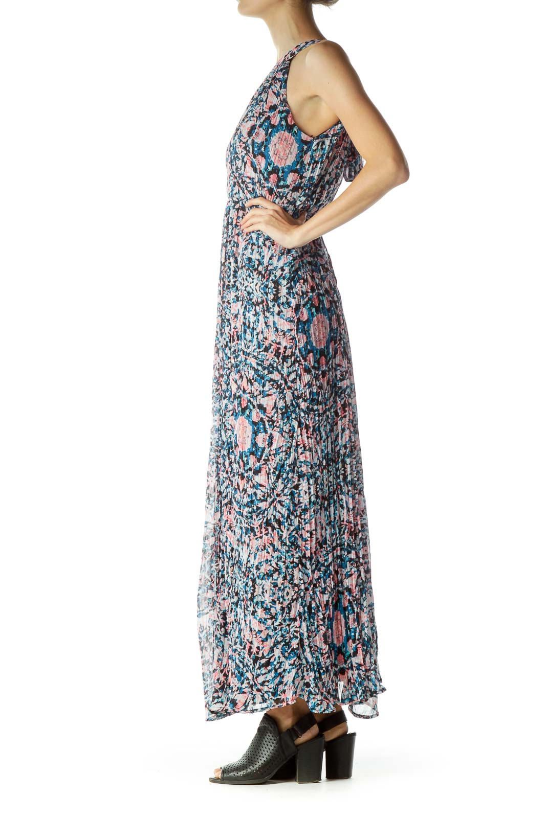 Pink Blue Printed Maxi Dress