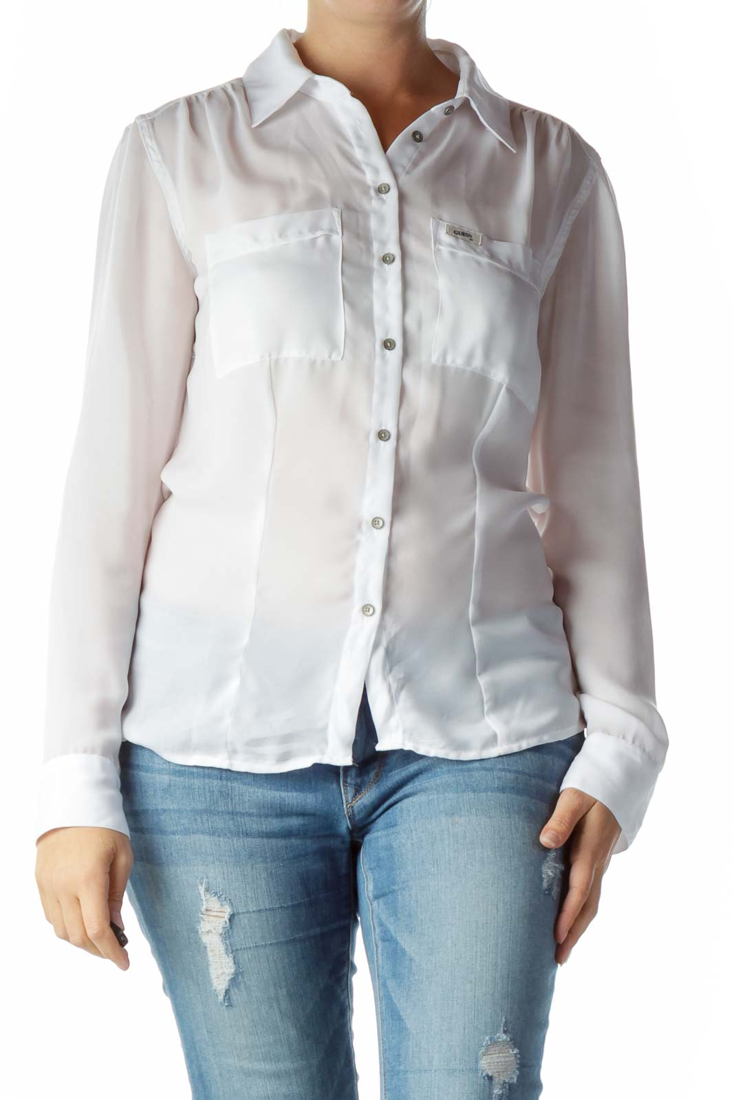 White Sheet Buttoned Blouse