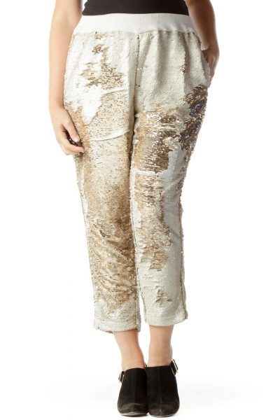 Beige Sequined Tapered Pants