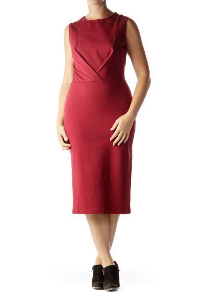 Red Midi Shift Dress