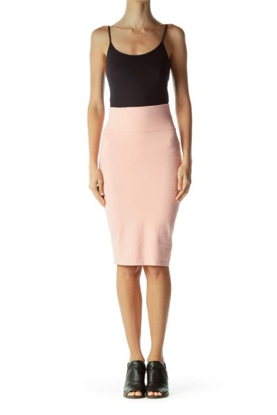 Pink Fitted Pencil Midi Skirt