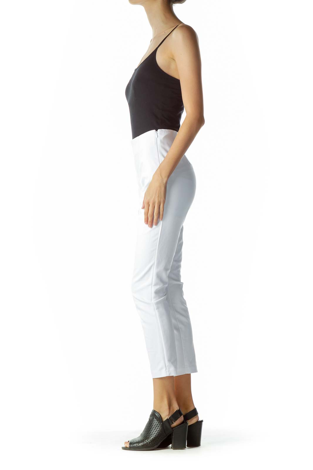 White High-Waisted Cropped Slacks