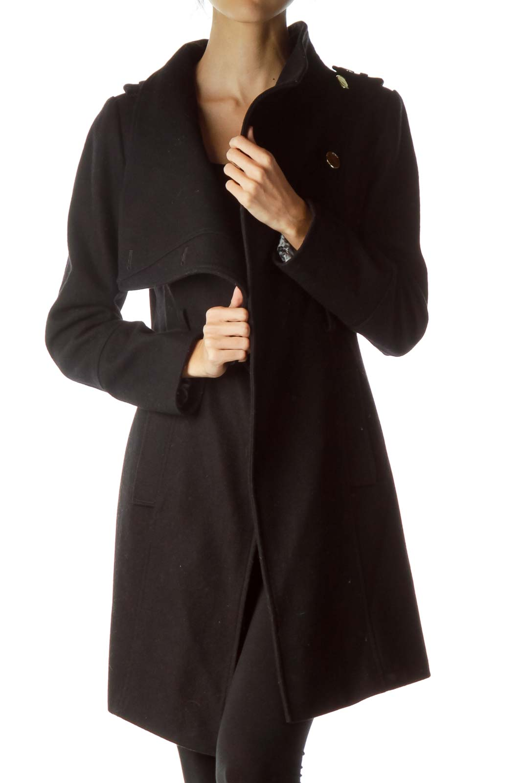 Black Fitted Single Breast Belted Coat
