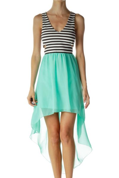 Black White Green Pinstripe Cut-Out Dress