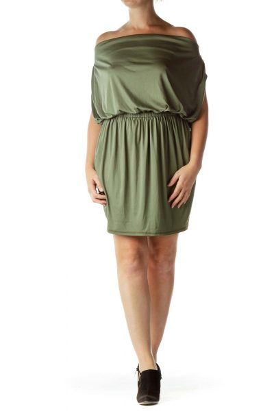 Green Satin Cowl Neck Cocktail Dress