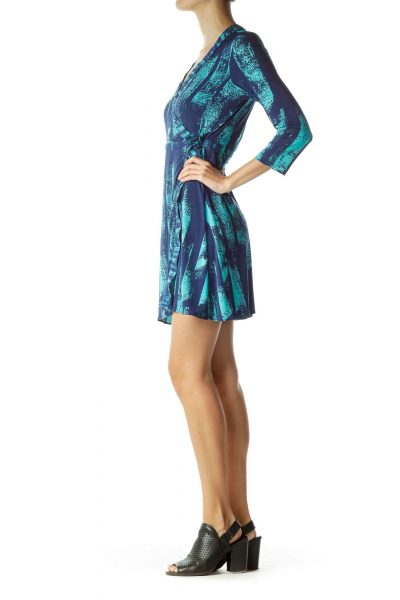 Blue Green Wrap Work Dress