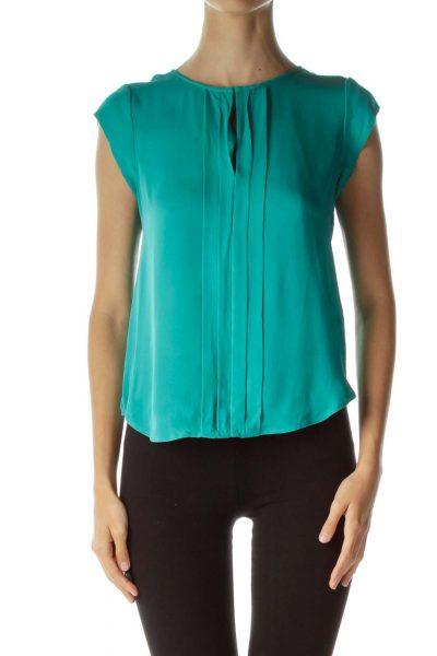 Teal V-neck Silk Blouse