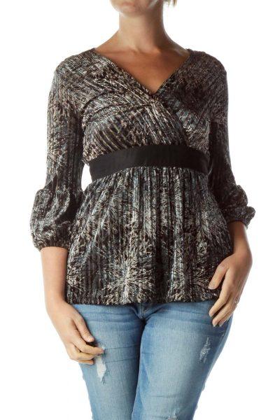 Black Brown Striped Velvet V-Neck Top