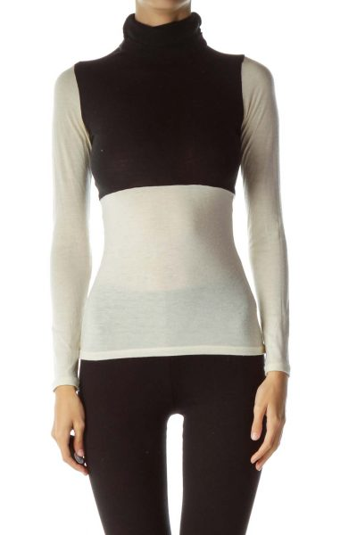 Black Cream Color Block Turtle Neck Knit Top