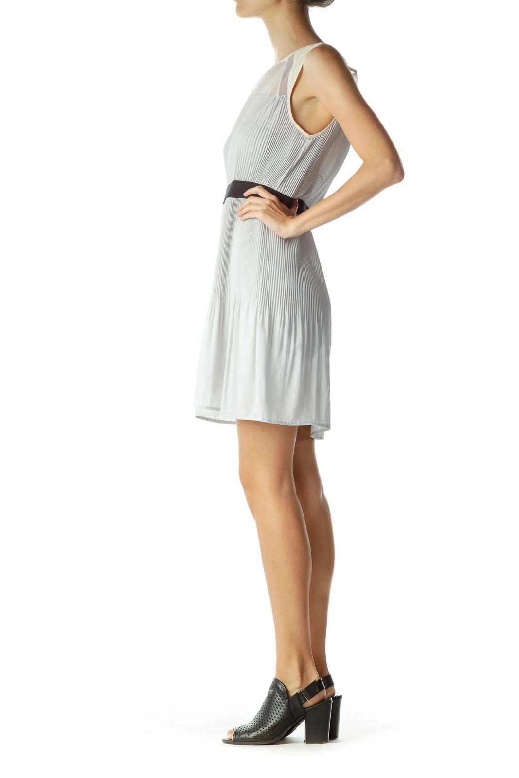 Gray Pleated Sheer Cocktail Dress