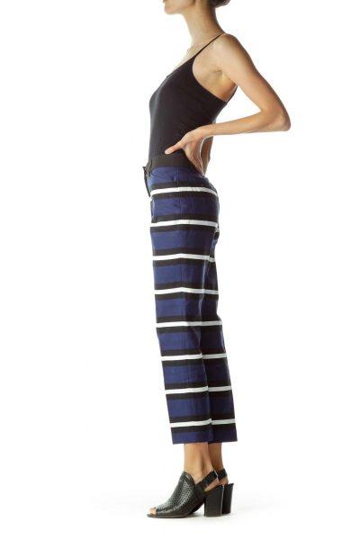 Navy Black White Striped Pants