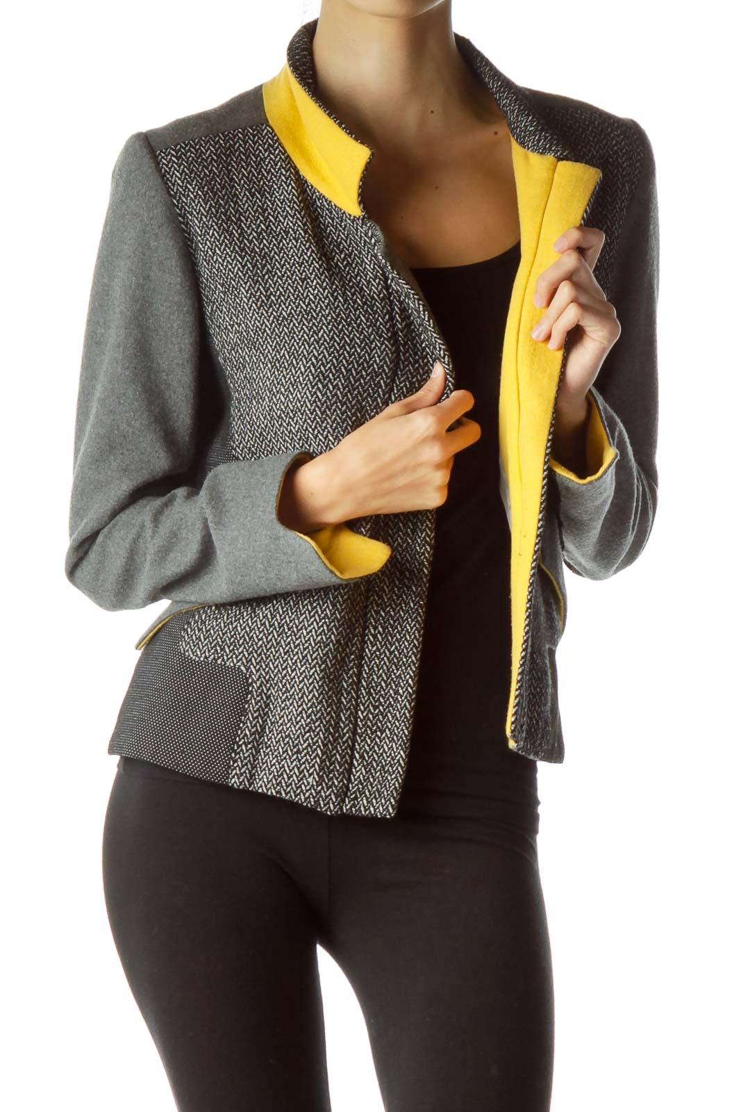 Gray Black Woven Detailed Fitted Jacket