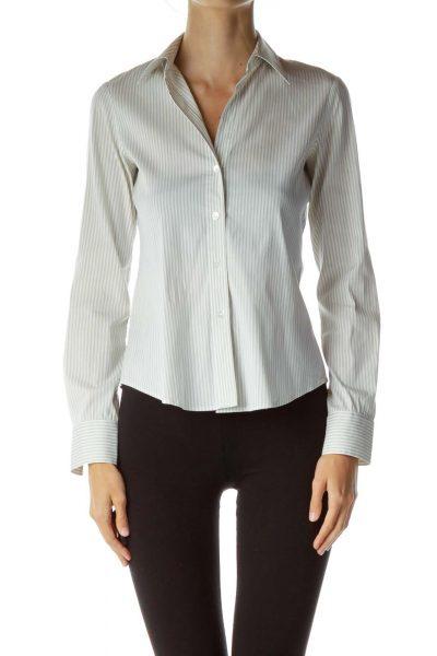 Green White Pinstripe Shirt