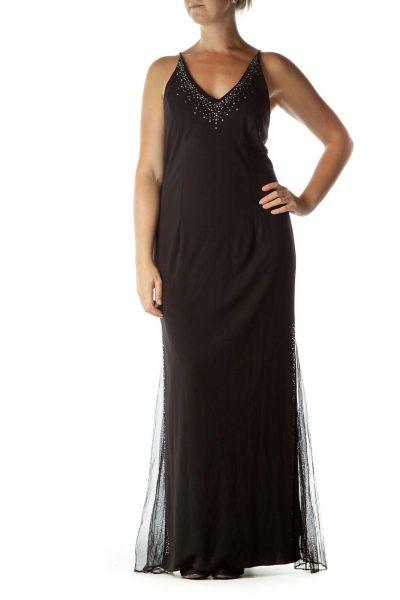 Black Beaded Long Evening Dress