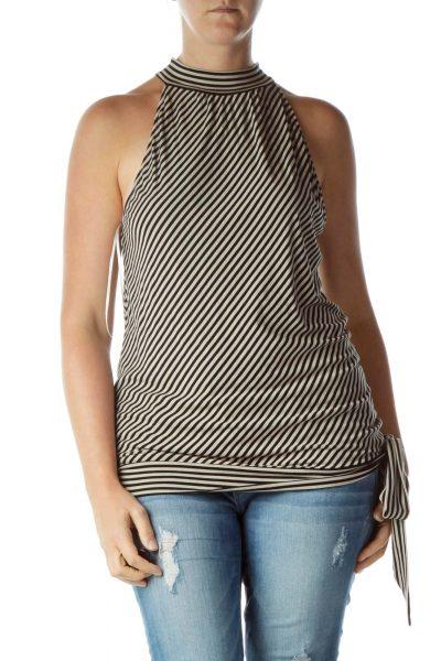 Black Beige Striped Blouse