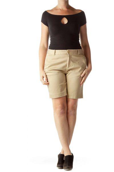 Beige High-Waisted Shorts