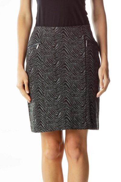Black Gray Zebra Print Skirt