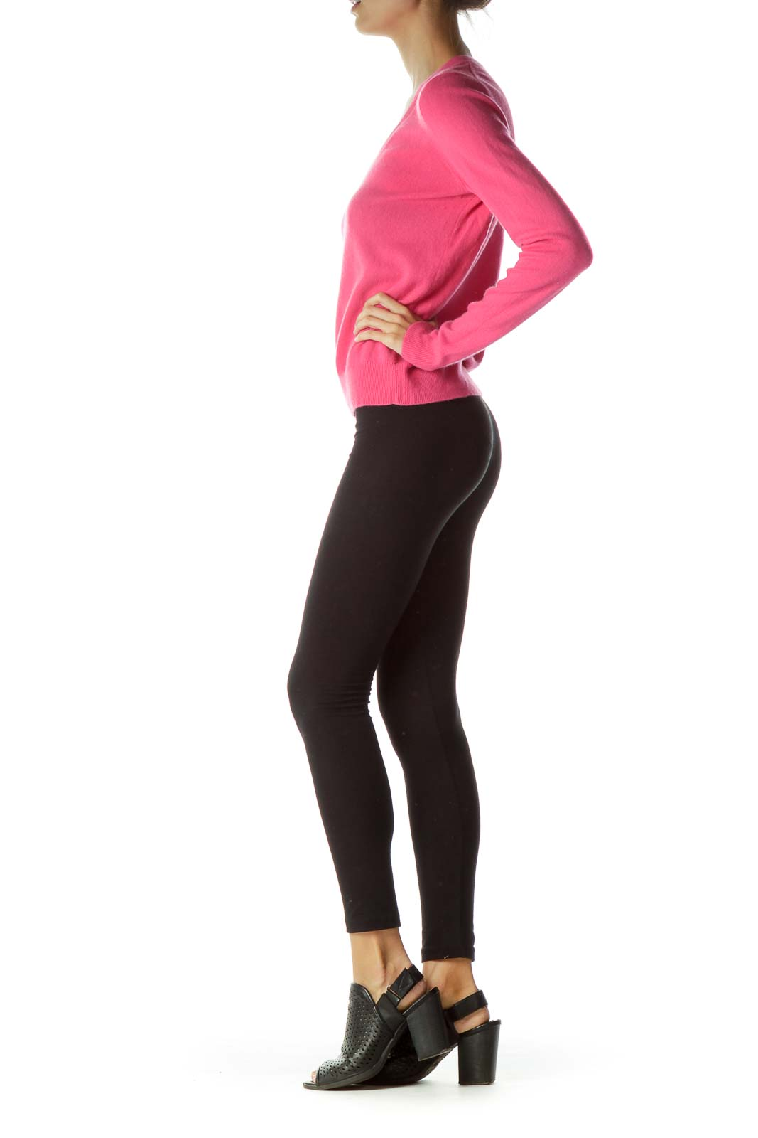 Pink Cashmere V-Neck Sweater
