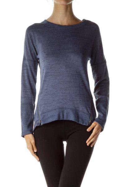 Blue Black Zippered Sweater