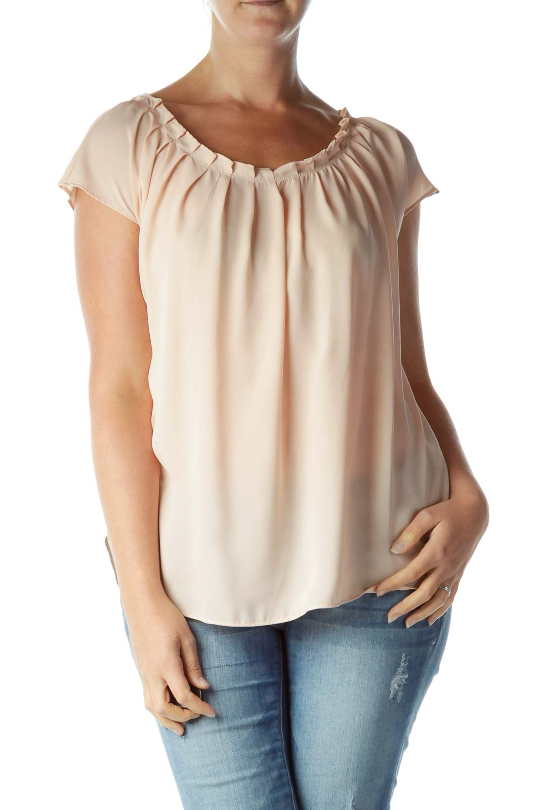 Pink Round Neck Pleated Collar Blouse