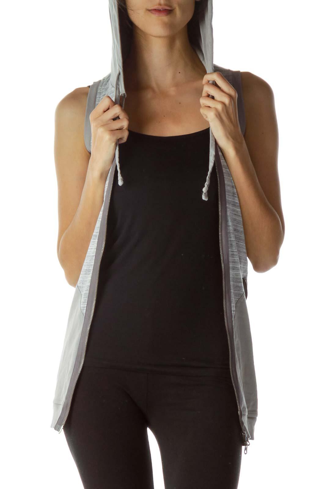 Gray Hooded Zipper Vest