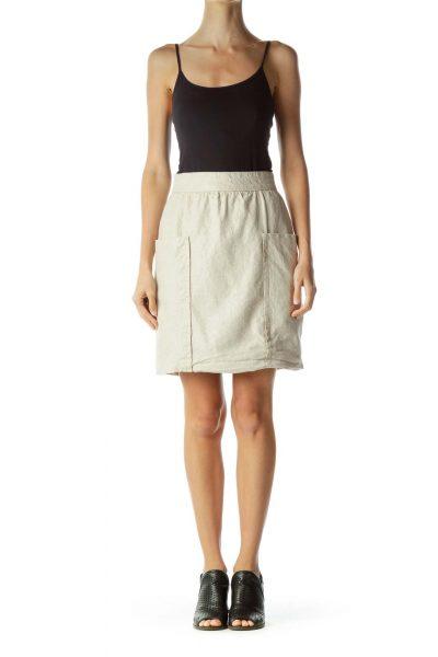 Beige Linen Pocketed Mini Skirt
