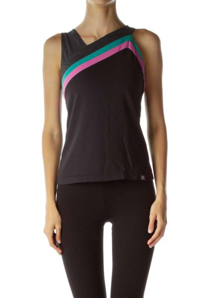 Black Stripe Detailed Yoga Top