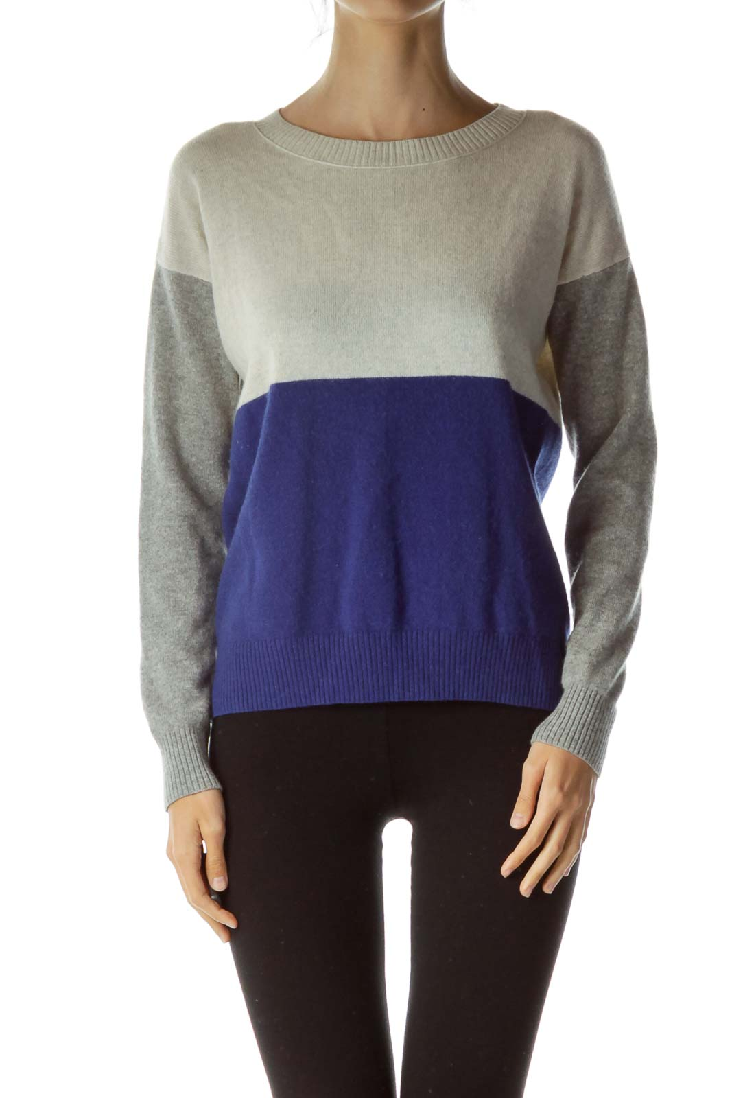 Gray Blue Color Block Cashmere Sweater