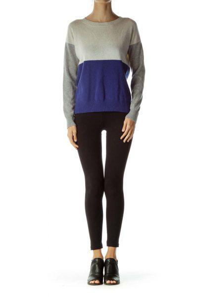 Gray Blue Color Block Cashmere Sweater
