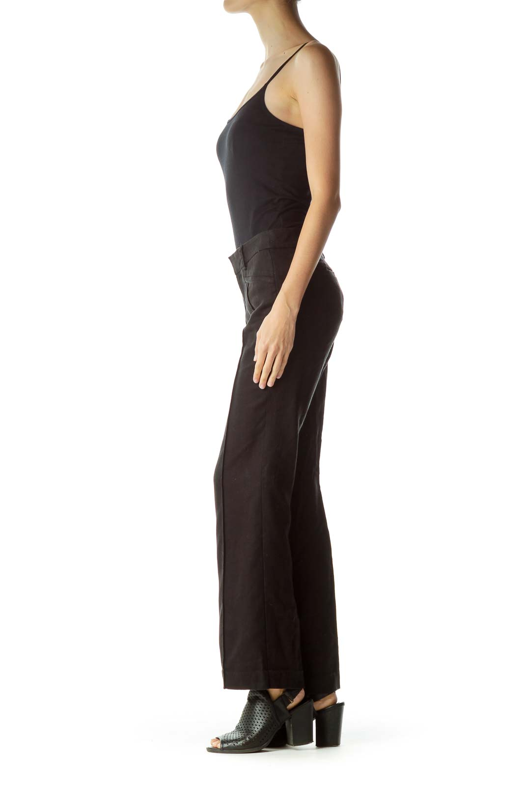 Black Linen Wide-Leg Pants