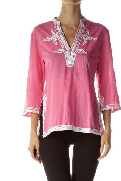 Pink White Detailed Tunic