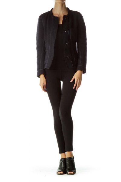 Navy Wool Tweed Blazer