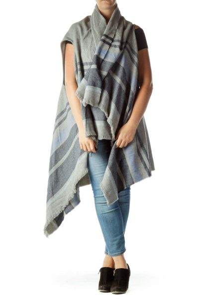 Gray Blue Striped One Size Long Cape