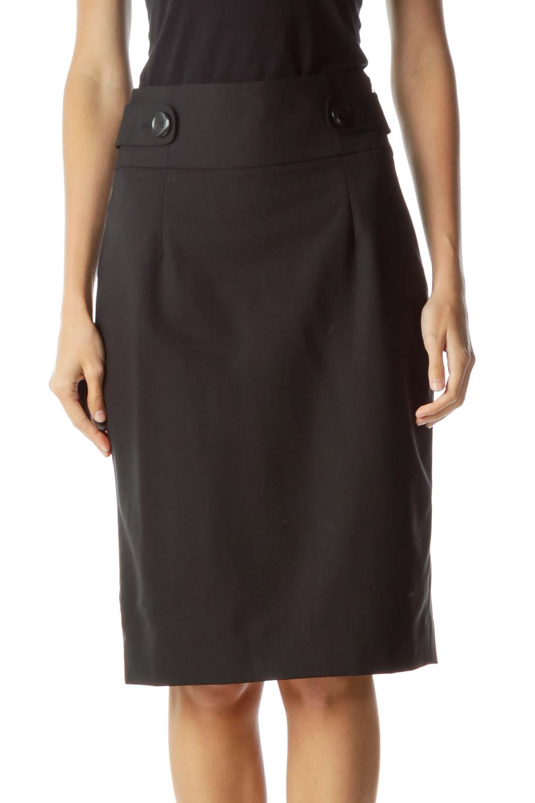 Black Buttoned Pencil Skirt