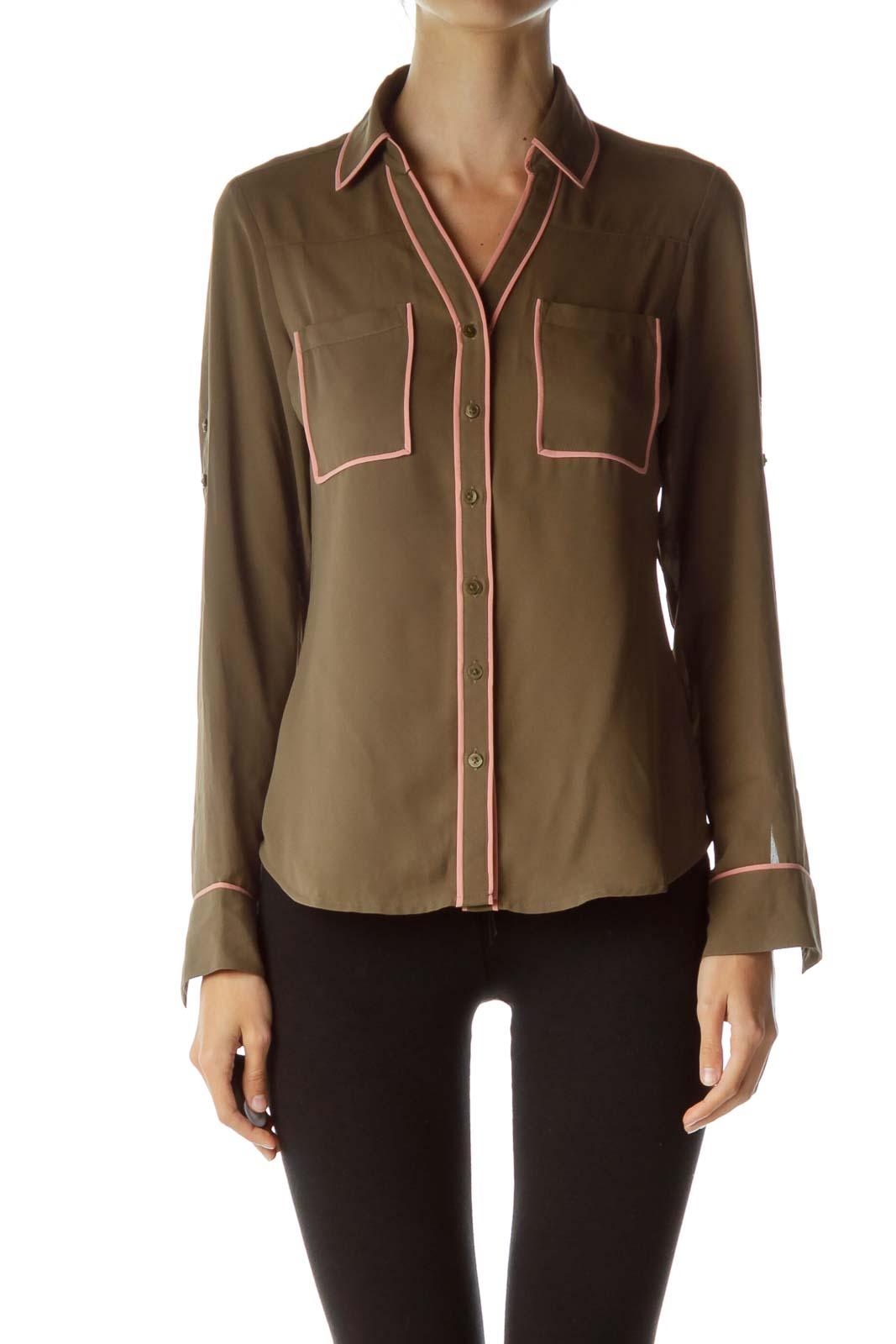 Brown Stripe Detailed Shirt