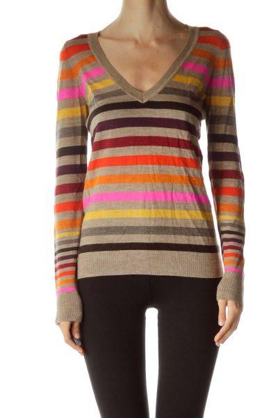 Brown Multicolor Striped Merino Wool Sweater