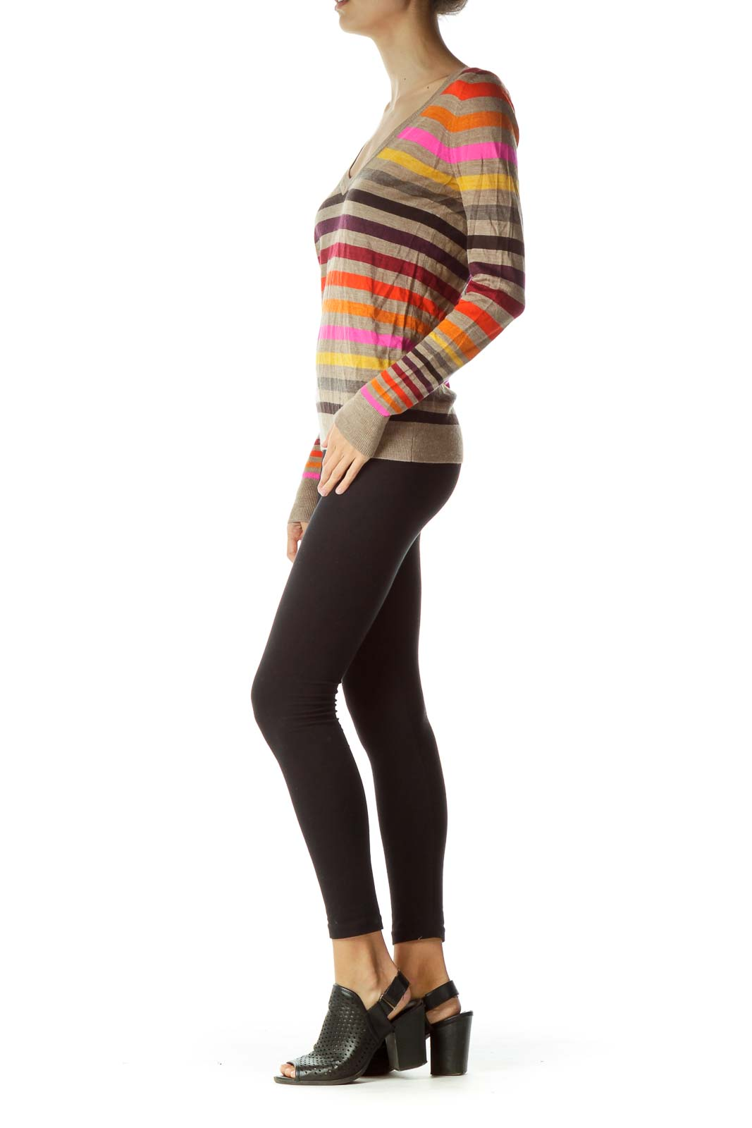 Brown Multicolor Striped Merino Wool Sweater